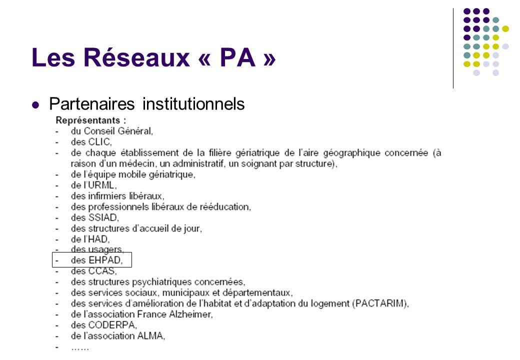 Les Réseaux « PA » Partenaires institutionnels