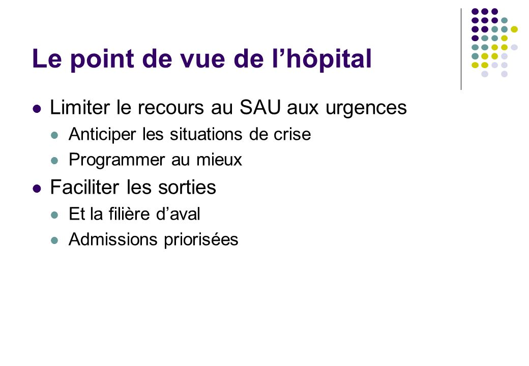 Le point de vue de l'hôpital