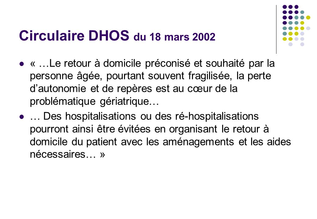 Circulaire DHOS du 18 mars 2002