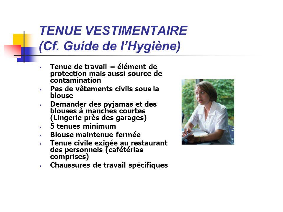 TENUE VESTIMENTAIRE (Cf. Guide de l'Hygiène)