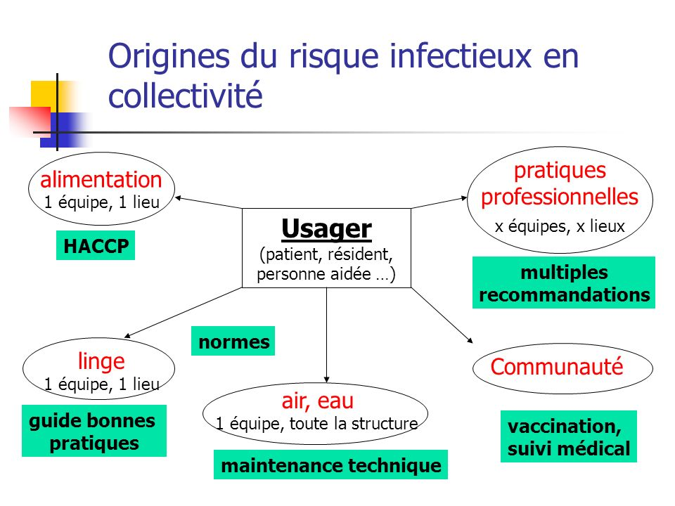 Origines du risque infectieux en collectivité