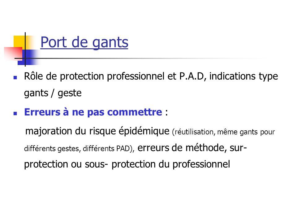 Port de gants Rôle de protection professionnel et P.A.D, indications type gants / geste. Erreurs à ne pas commettre :