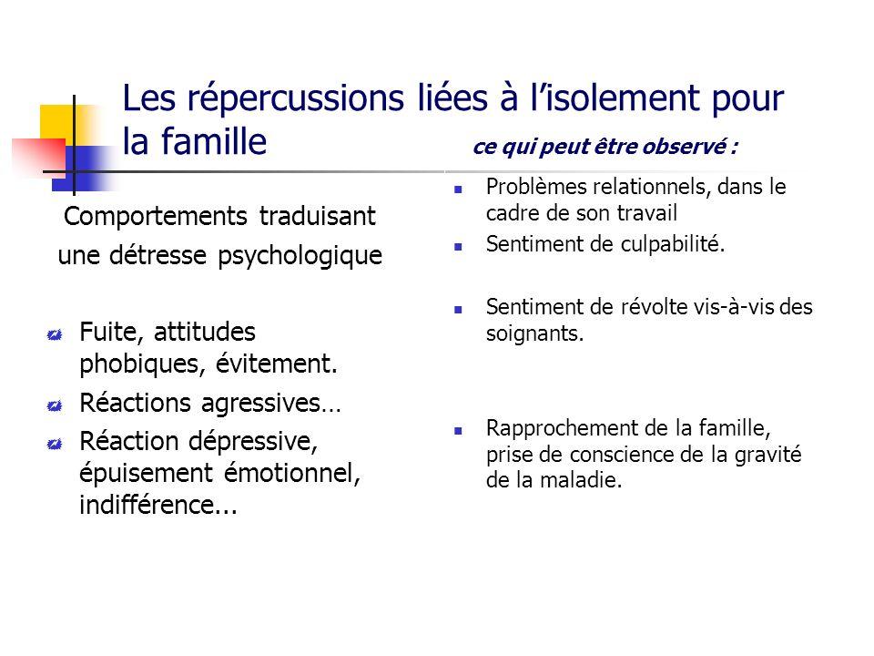 Les répercussions liées à l'isolement pour la famille