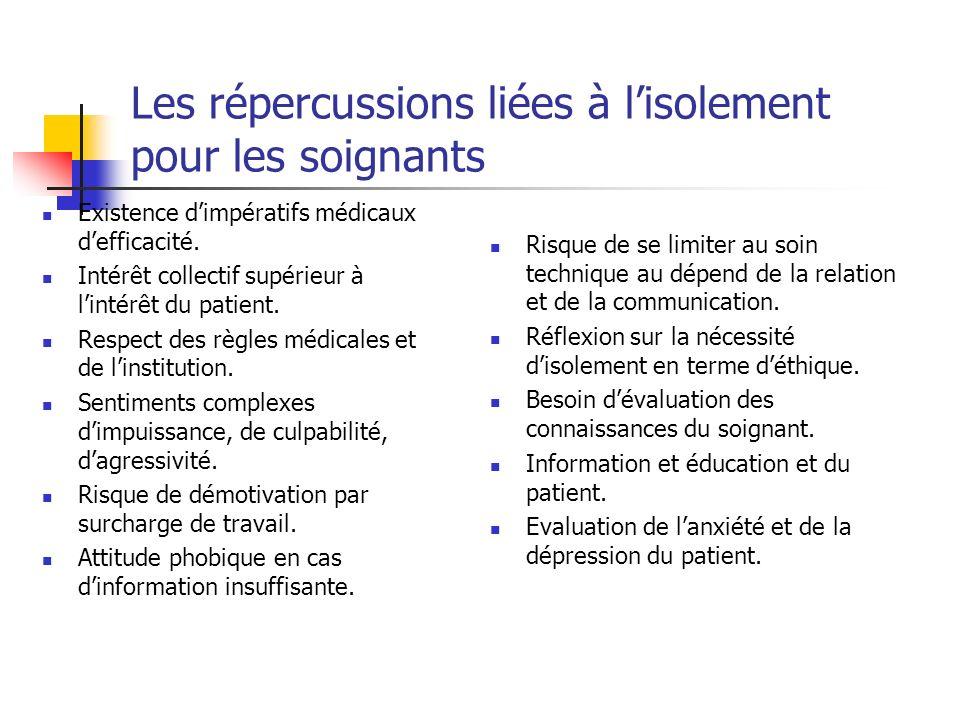 Les répercussions liées à l'isolement pour les soignants