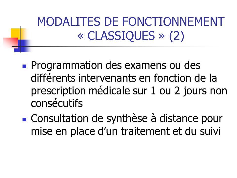 MODALITES DE FONCTIONNEMENT « CLASSIQUES » (2)