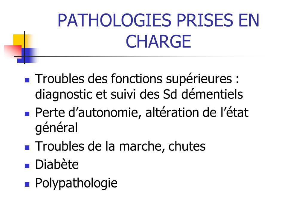 PATHOLOGIES PRISES EN CHARGE