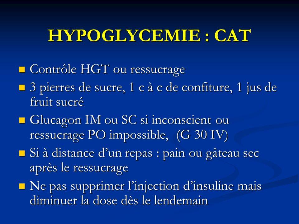 HYPOGLYCEMIE : CAT Contrôle HGT ou ressucrage