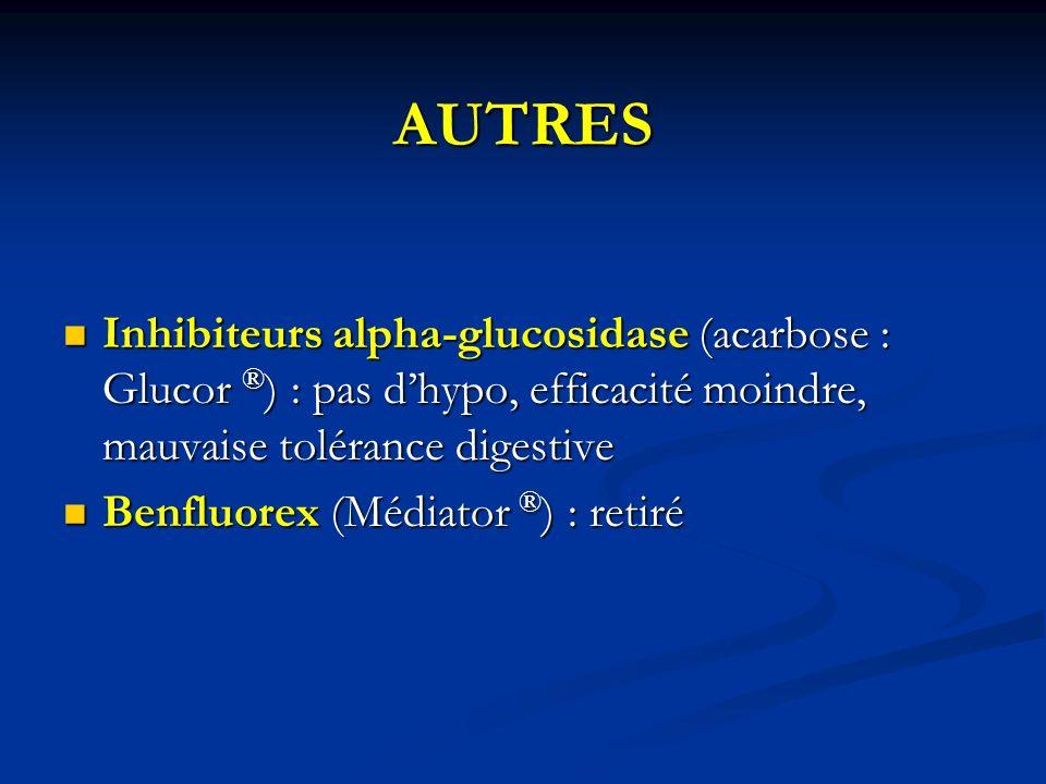 AUTRESInhibiteurs alpha-glucosidase (acarbose : Glucor ®) : pas d'hypo, efficacité moindre, mauvaise tolérance digestive.