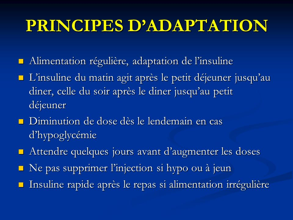 PRINCIPES D'ADAPTATION