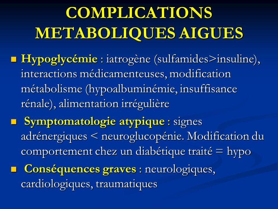 COMPLICATIONS METABOLIQUES AIGUES