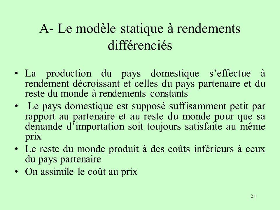 A- Le modèle statique à rendements différenciés