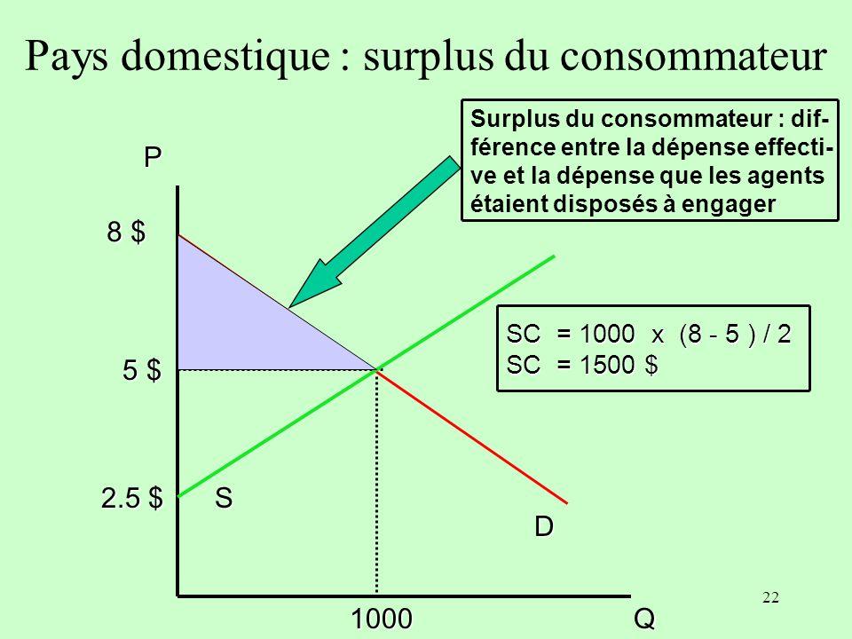 Pays domestique : surplus du consommateur