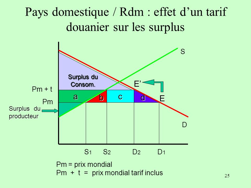 Pays domestique / Rdm : effet d'un tarif douanier sur les surplus