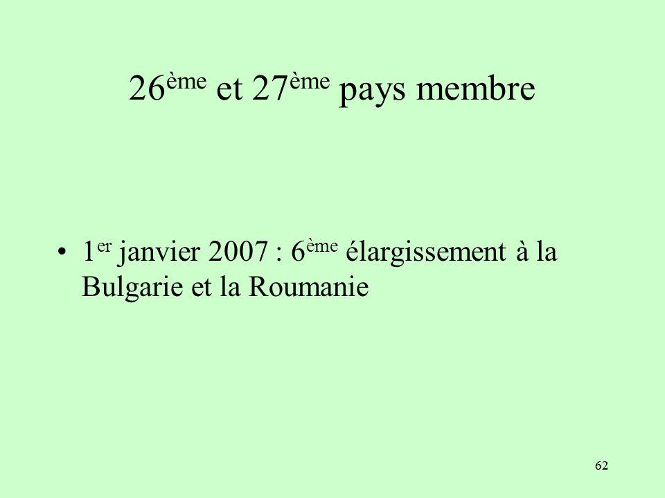 26ème et 27ème pays membre 1er janvier 2007 : 6ème élargissement à la Bulgarie et la Roumanie 62