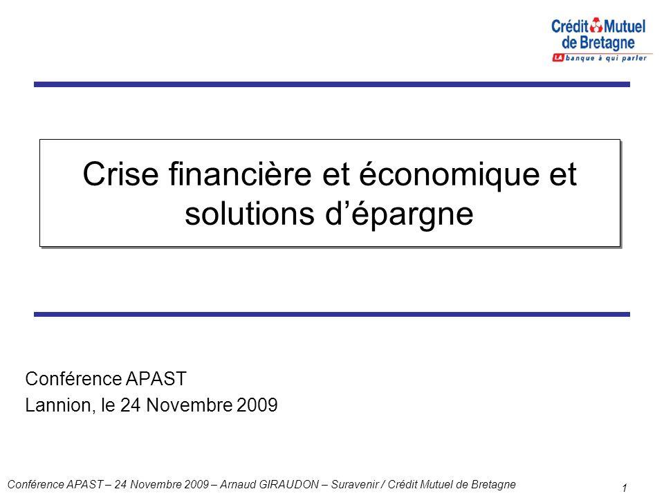 Crise financière et économique et solutions d'épargne