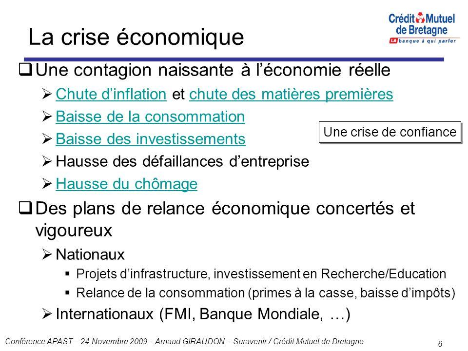 La crise économique Une contagion naissante à l'économie réelle