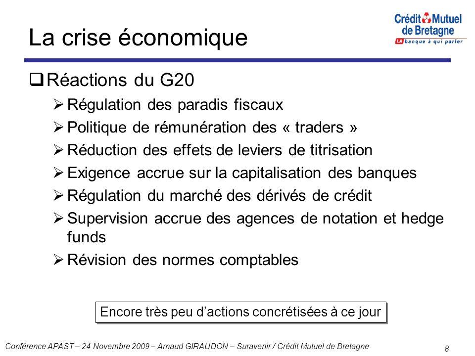 La crise économique Réactions du G20 Régulation des paradis fiscaux