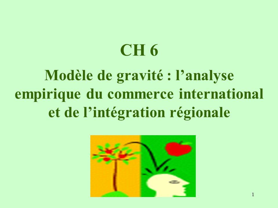 CH 6 Modèle de gravité : l'analyse empirique du commerce international et de l'intégration régionale