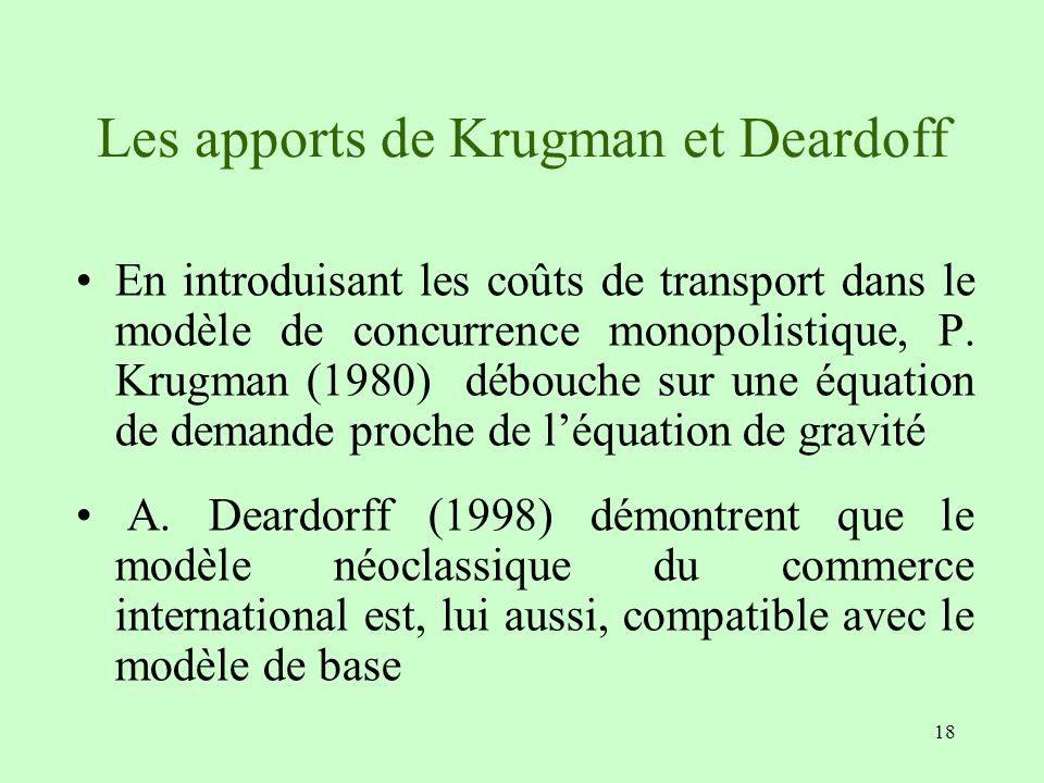 Les apports de Krugman et Deardoff