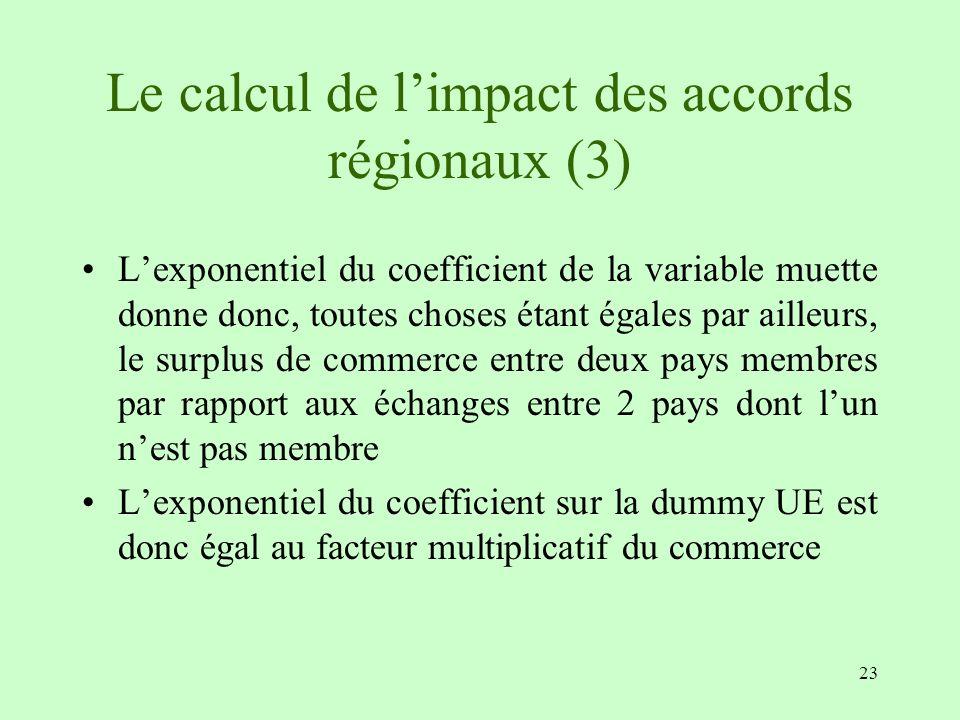 Le calcul de l'impact des accords régionaux (3)