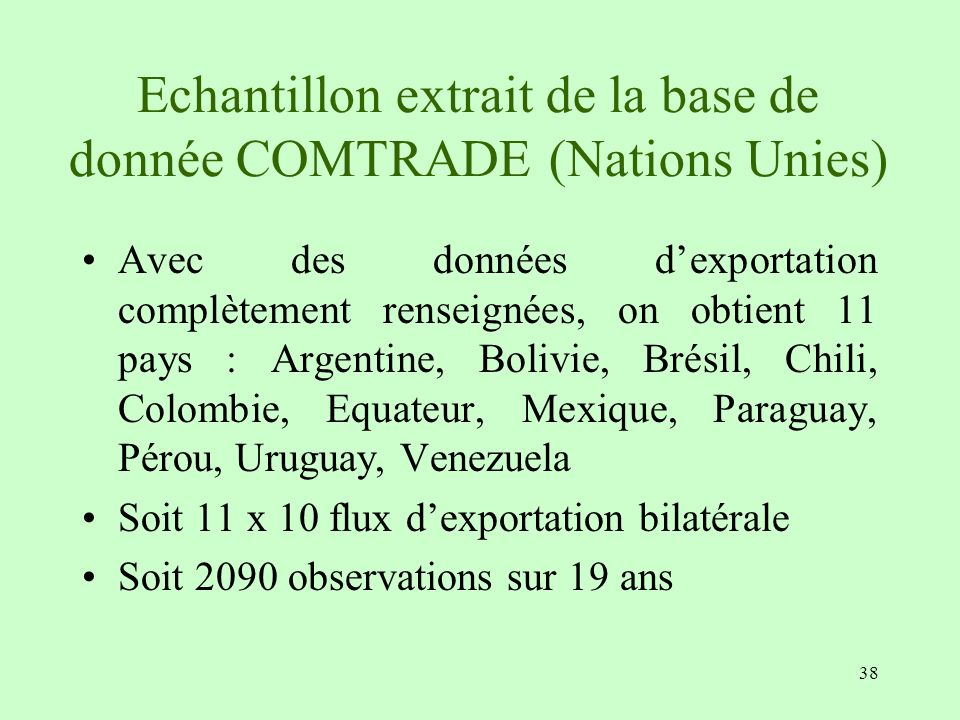 Echantillon extrait de la base de donnée COMTRADE (Nations Unies)