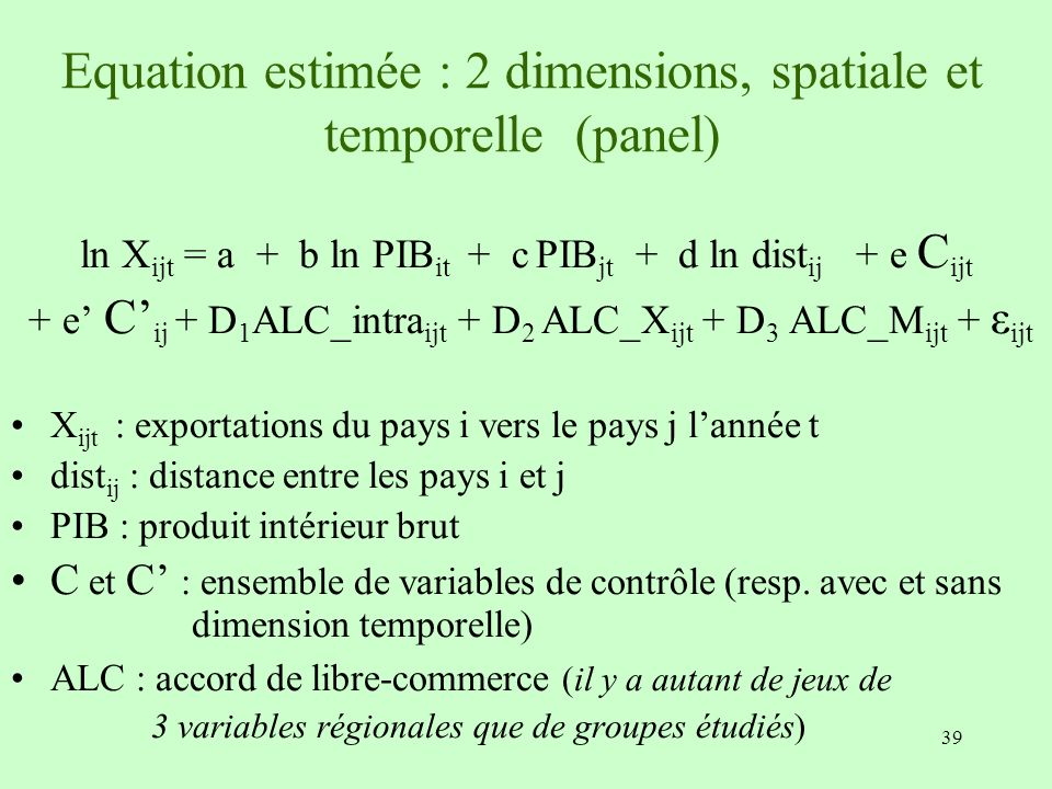 Equation estimée : 2 dimensions, spatiale et temporelle (panel)