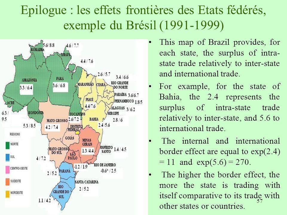 Epilogue : les effets frontières des Etats fédérés, exemple du Brésil (1991-1999)