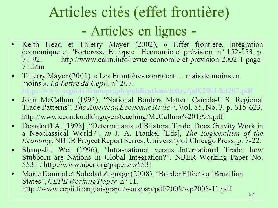 Articles cités (effet frontière) - Articles en lignes -