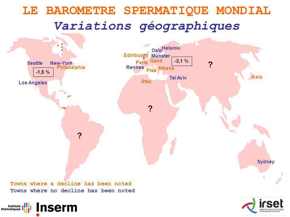LE BAROMETRE SPERMATIQUE MONDIAL Variations géographiques