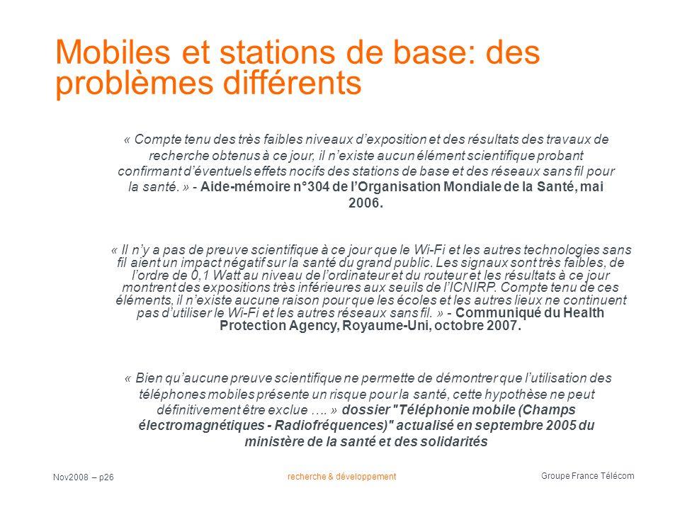 Mobiles et stations de base: des problèmes différents