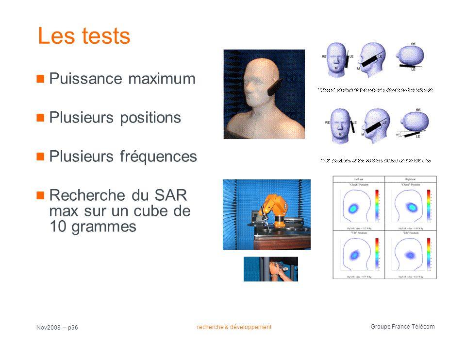 Les tests Puissance maximum Plusieurs positions Plusieurs fréquences