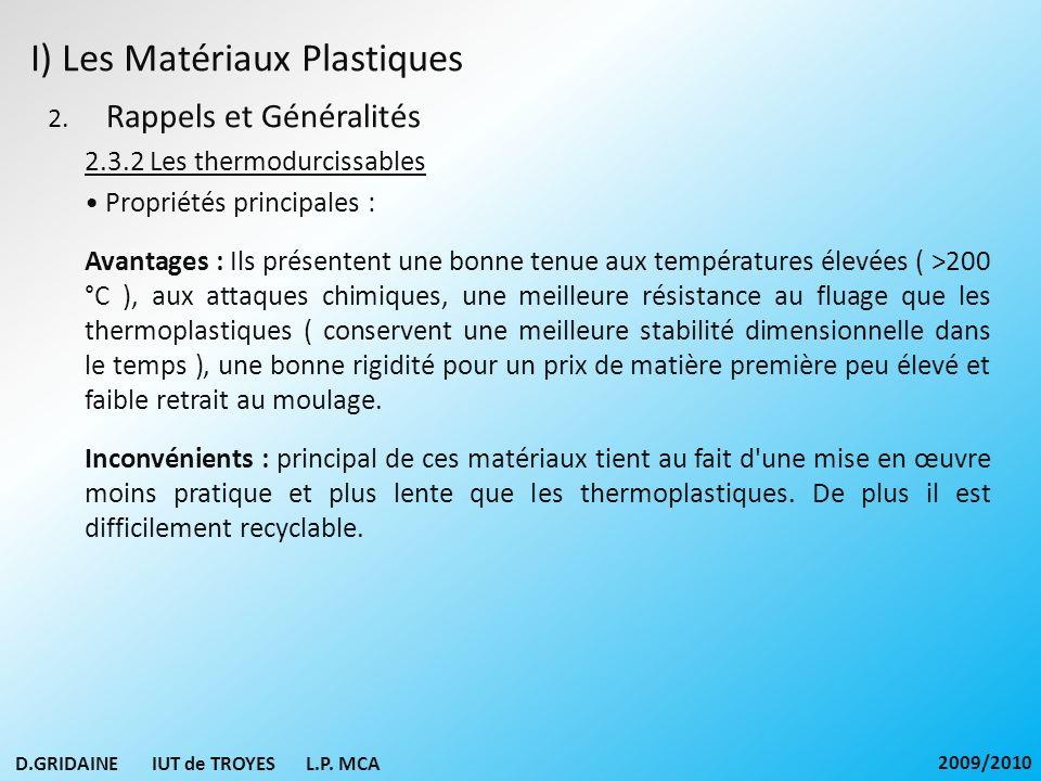 I) Les Matériaux Plastiques