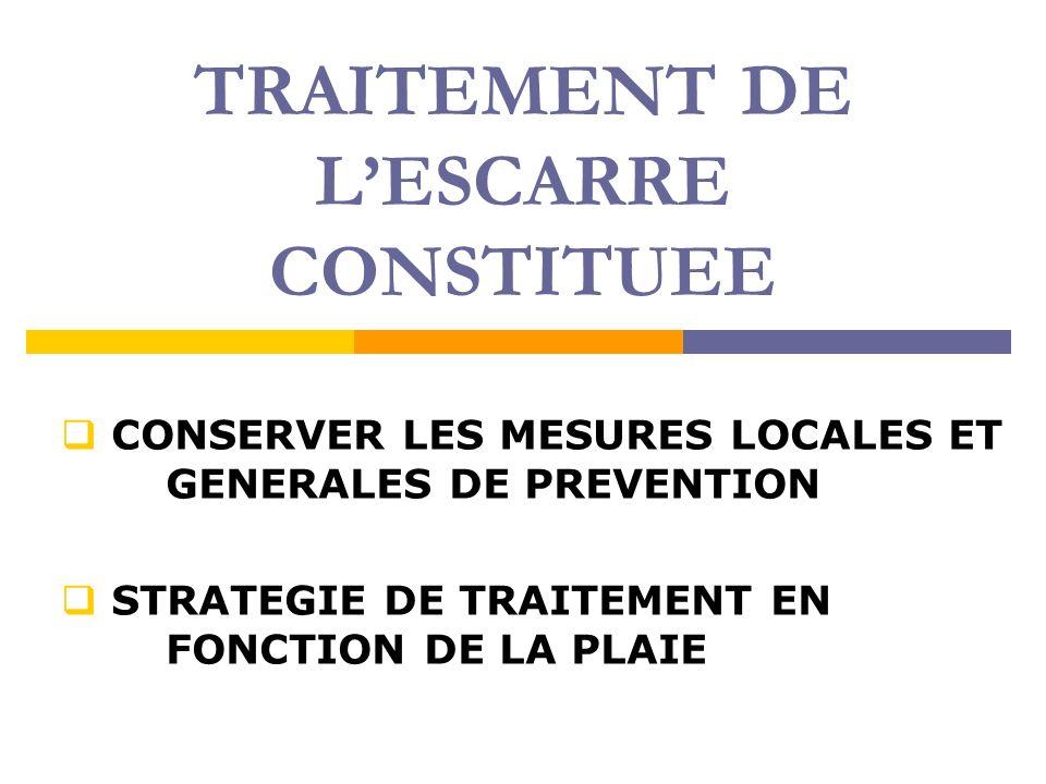 TRAITEMENT DE L'ESCARRE CONSTITUEE