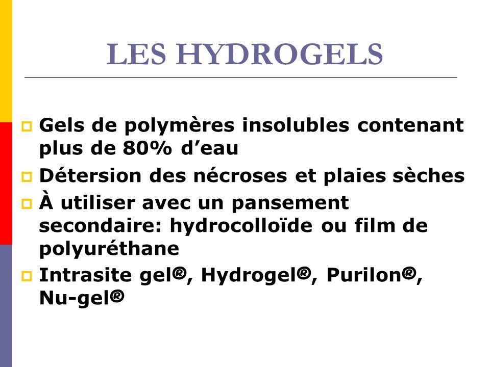 LES HYDROGELS Gels de polymères insolubles contenant plus de 80% d'eau