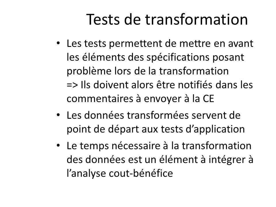 Tests de transformation