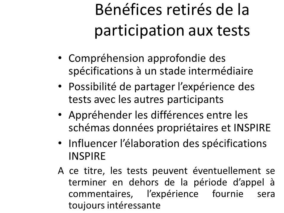 Bénéfices retirés de la participation aux tests