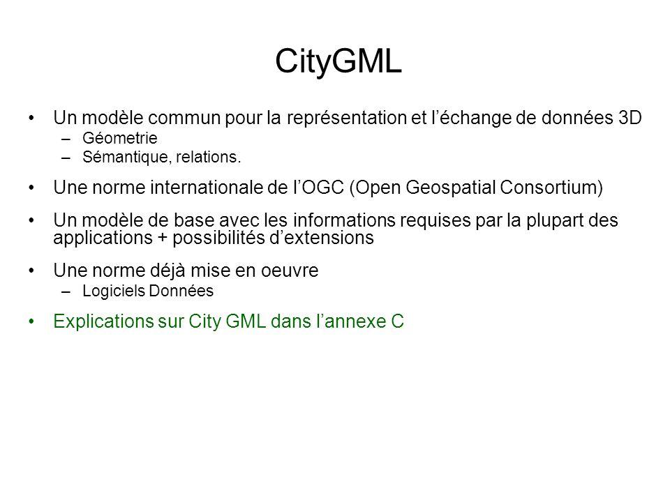 CityGML Un modèle commun pour la représentation et l'échange de données 3D. Géometrie. Sémantique, relations.