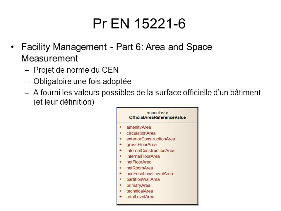 Pr EN 15221-6 Facility Management - Part 6: Area and Space Measurement