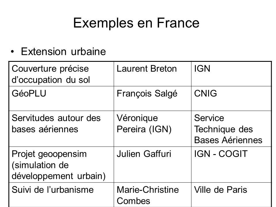 Exemples en France Extension urbaine