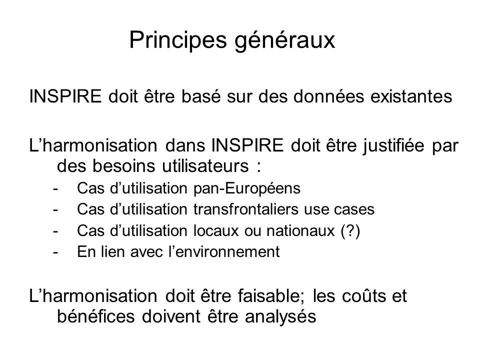 Principes généraux INSPIRE doit être basé sur des données existantes