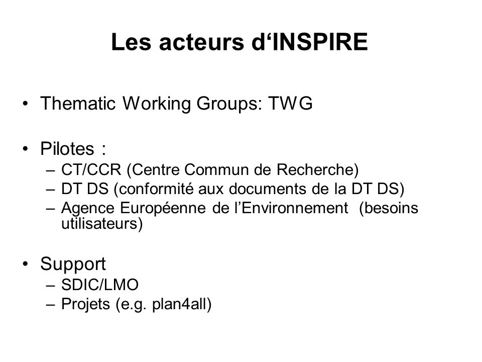 Les acteurs d'INSPIRE Thematic Working Groups: TWG Pilotes : Support