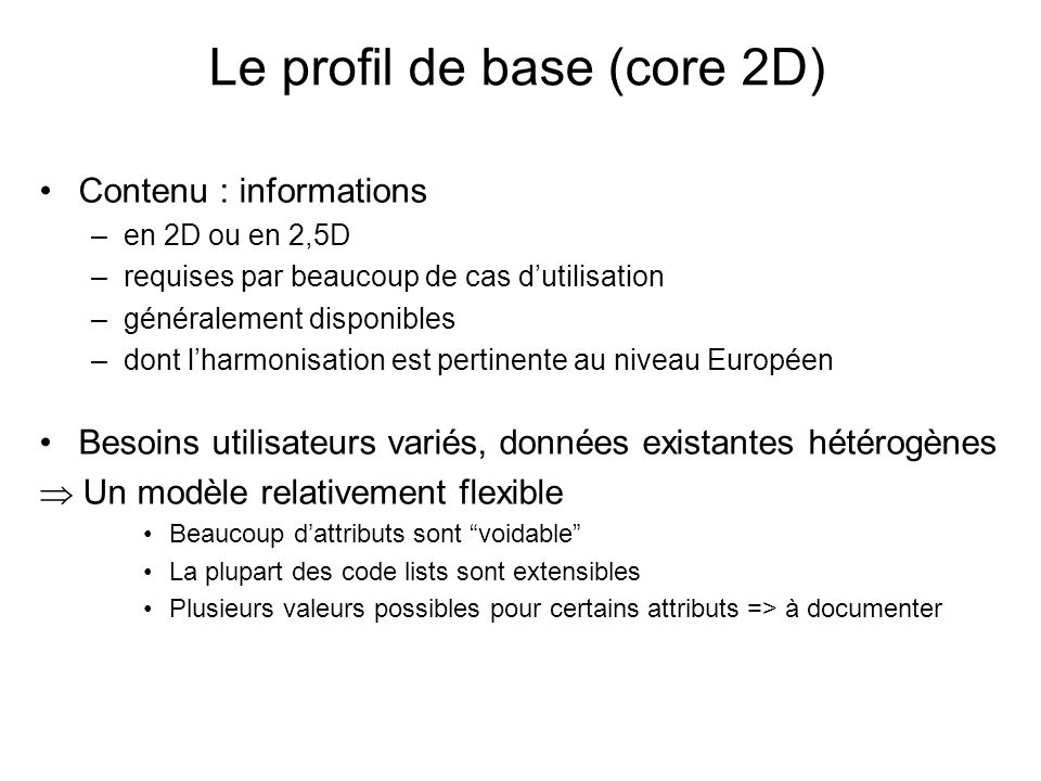 Le profil de base (core 2D)