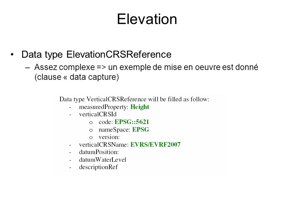 Elevation Data type ElevationCRSReference