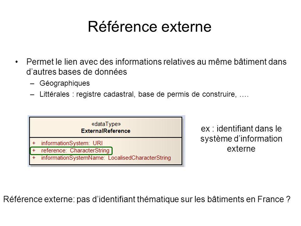 ex : identifiant dans le système d'information externe