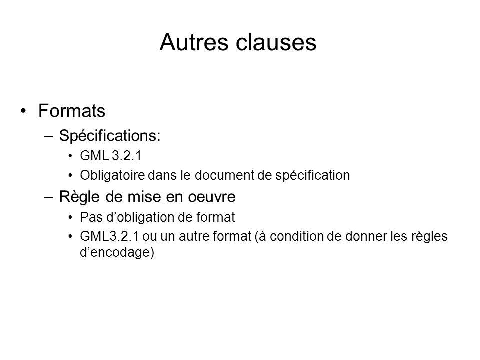 Autres clauses Formats Spécifications: Règle de mise en oeuvre