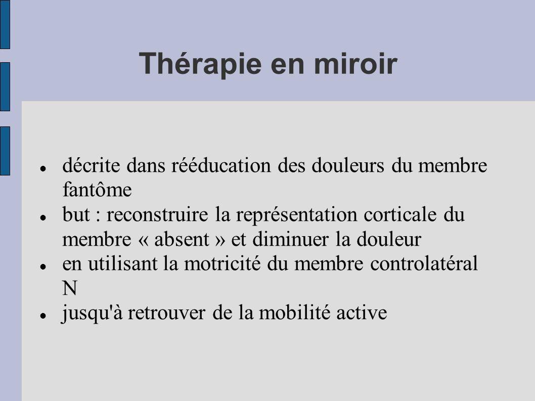 Thérapie en miroir décrite dans rééducation des douleurs du membre fantôme.