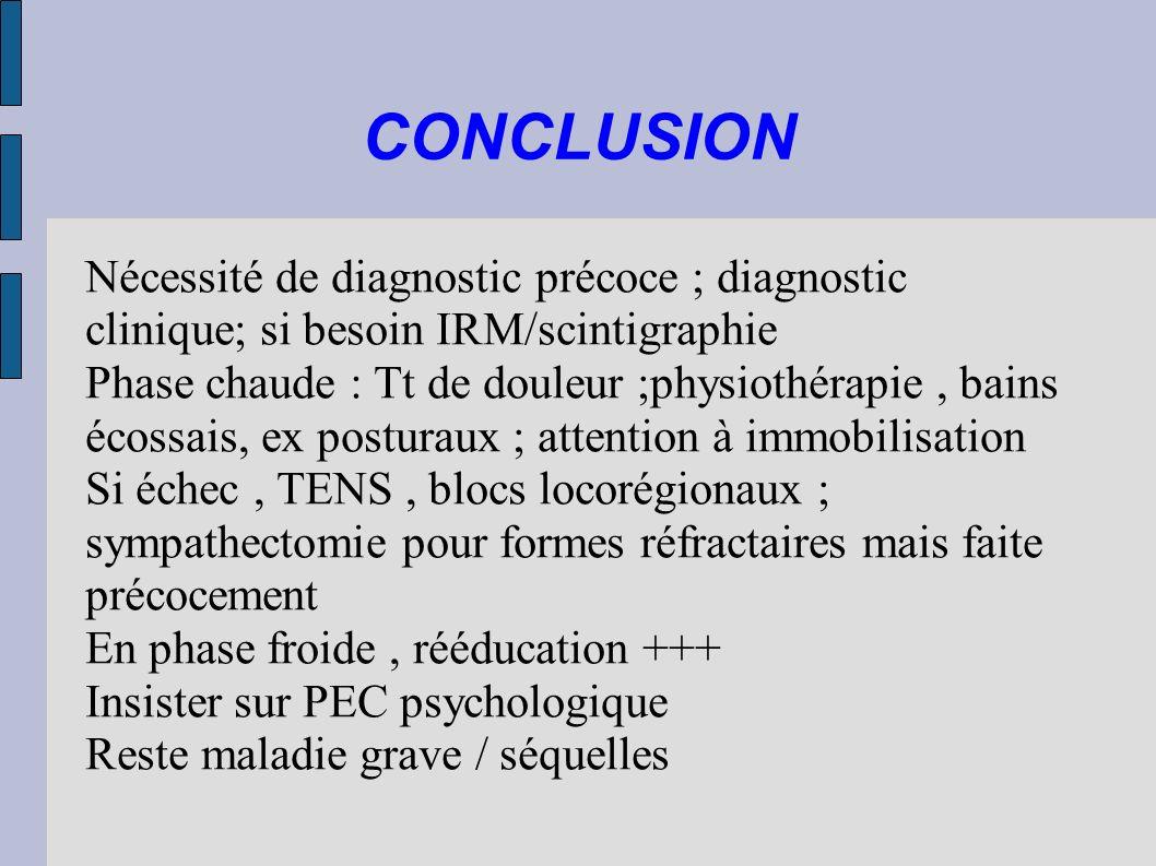 CONCLUSIONNécessité de diagnostic précoce ; diagnostic clinique; si besoin IRM/scintigraphie.