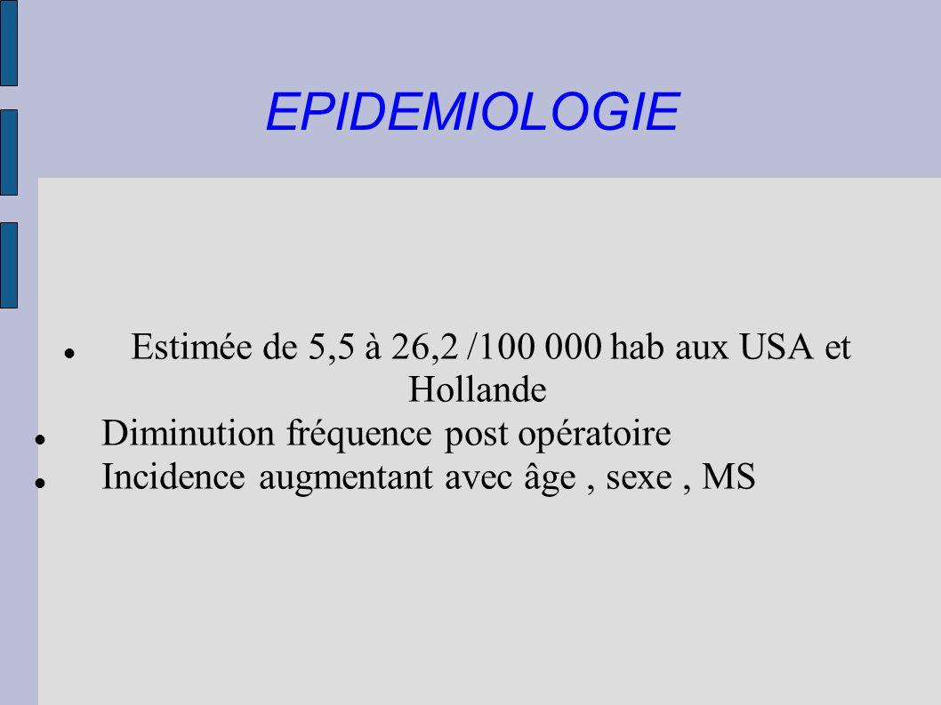 Estimée de 5,5 à 26,2 /100 000 hab aux USA et Hollande