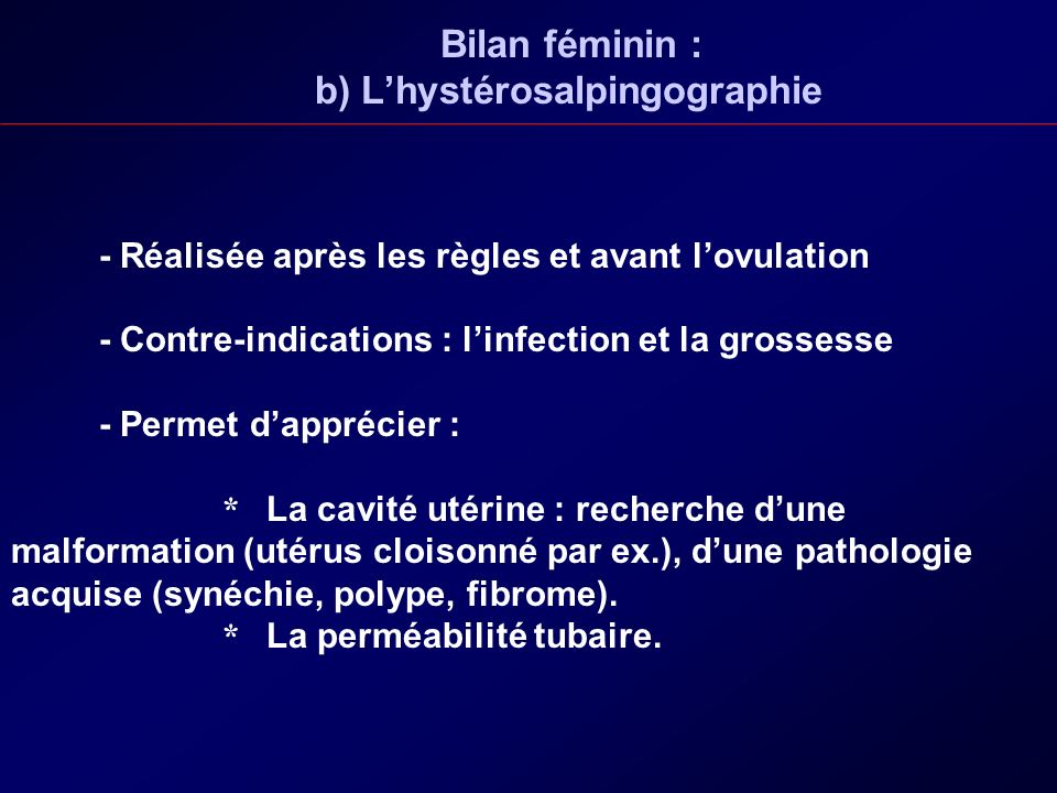 Bilan féminin : b) L'hystérosalpingographie