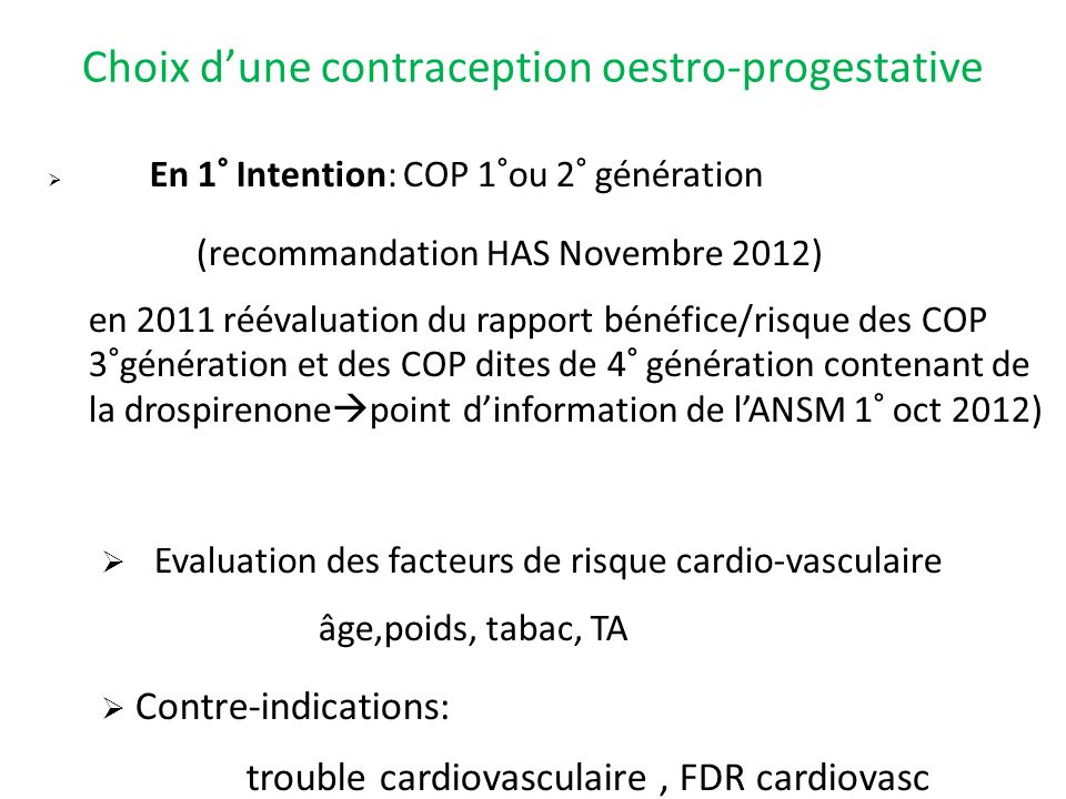 Choix d'une contraception oestro-progestative